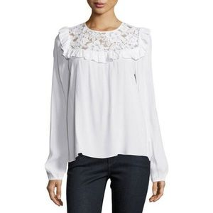 Wayf white lace Ruffle Top